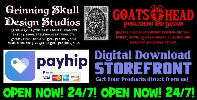 grin skull goatshead logo title med